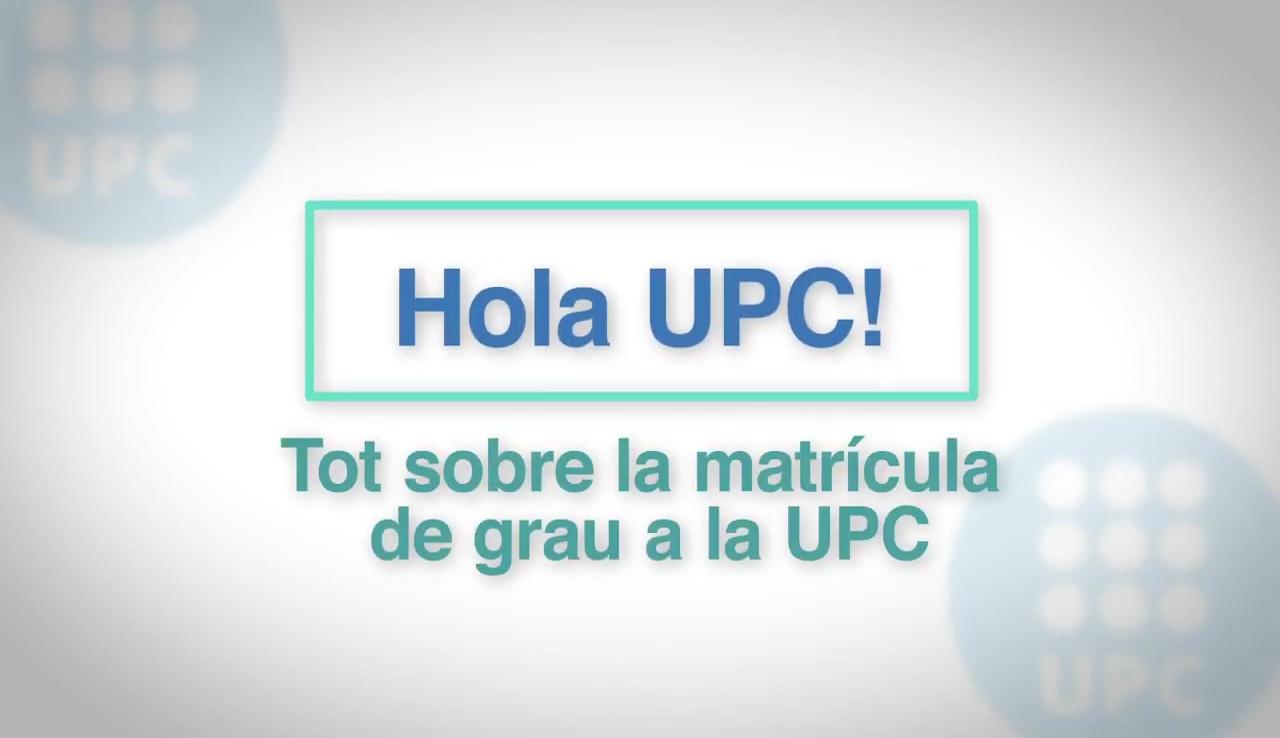 Tot sobre la matrícula de grau a la UPC