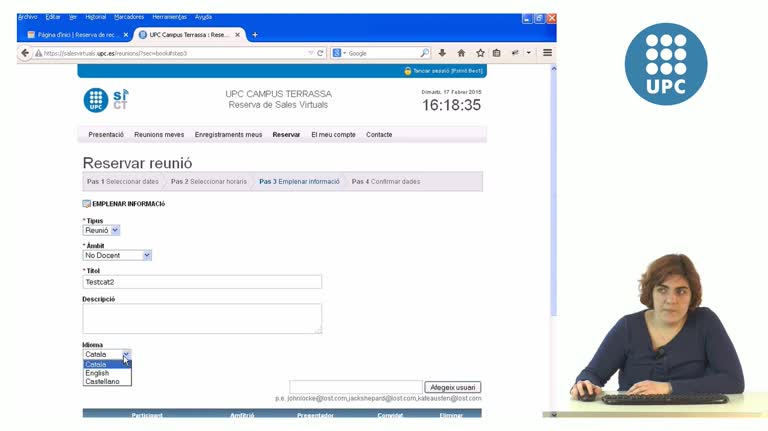 Vídeo tutorial reserva i gestió salesvirtuals.upc.edu/reunions