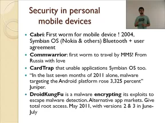 Ubiquitous computing. Security in mobiles devices